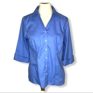 Lands End Blue 3/4 Sleeve Button Up Blouse Sz 8